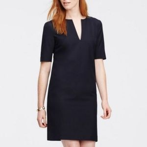 All-Season Stretch Split Neck Shift Dress